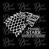 House Stark Direwolf Winter is Coming GoT Game of Thrones-inspired Vinyl Car/Laptop Decal