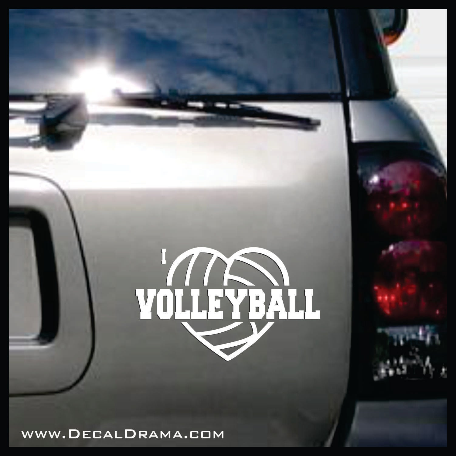 I Heart Volleyball Vinyl Car/Laptop Decal