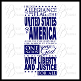US Pledge of Allegiance Vinyl Wall Decal