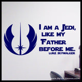 Luke: I am a Jedi like my Father before Me, Star Wars-Inspired Fan Art Vinyl Wall Decal