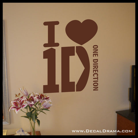 I Love 1D I HEART One Direction-inspired Fan Art Vinyl Wall Decal