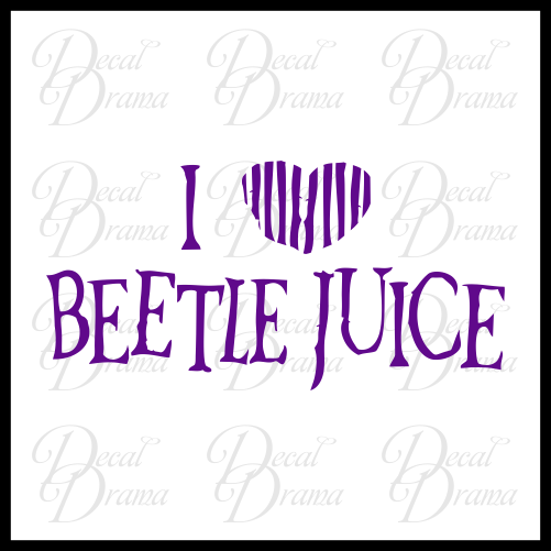 I [Heart] Love Beetlejuice, Beetlejuice-inspired Fan Art Vinyl Car/Laptop Decal