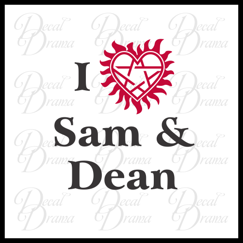 I Love Sam & Dean with anti-possession heart, Supernatural-inspired Fan Art Vinyl Car/Laptop Decal