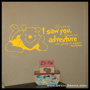 I Knew an Adventure was Going to Happen, Winnie the Pooh-inspired Vinyl Wall Decal
