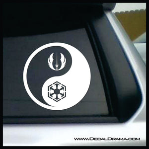 Jedi Sith Yin Yang, Star Wars-Inspired Fan Art Vinyl Decal