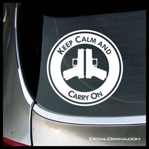 Keep Calm and Carry On, with handgun Peace Sign, 2nd Amendment Vinyl Wall Decal