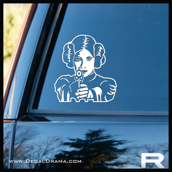 Leia's Blaster-in-Your-Face, Star Wars-Inspired Fan Art Vinyl Wall Decal