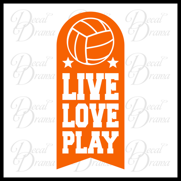 Live Love Play Volleyball Vinyl Car/Laptop Decal