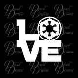 Love the Galactic Empire, Star Wars-Inspired Fan Art Vinyl Wall Decal