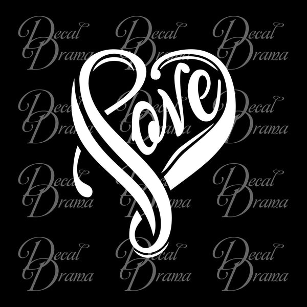 Love Swirly Heart Vinyl Car/Laptop Decal
