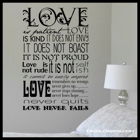 LOVE Is Patient, LOVE Is KIND, Inspired By 1 Corinthians 13:4-8, Bible New Testament Scripture Verse Vinyl Wall Decal