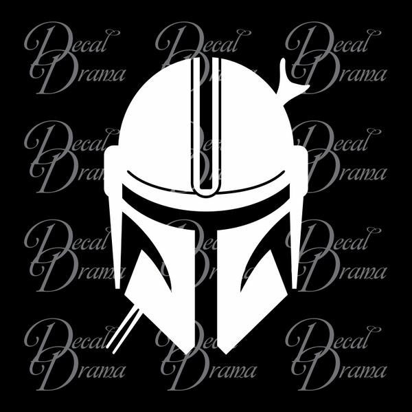 Mandalorian's Helmet, Star Wars-Inspired Fan Art Vinyl Wall Decal