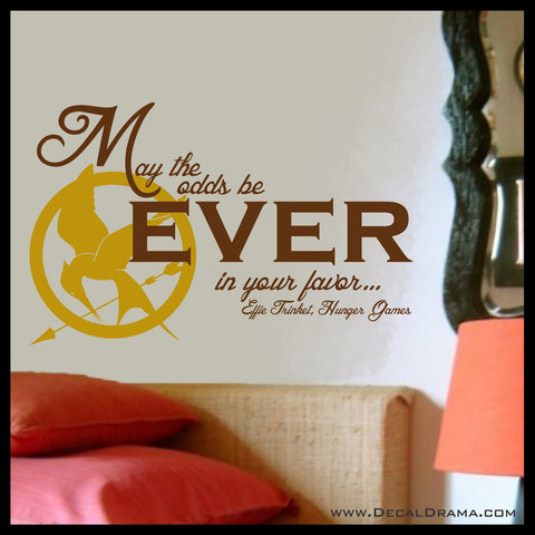 May the Odds be Ever in Your Favor with Mockingjay emblem, Hunger Games-inspired Vinyl Wall Decal