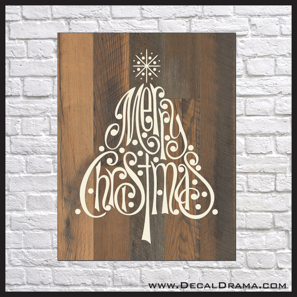 Merry Christmas Tree Vinyl Wall Decal