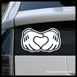 Mickey Hands Heart, Disney-inspired Fan Art Vinyl Car/Laptop Decal
