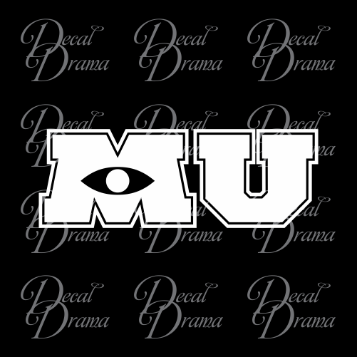Monster University emblem, Monsters Inc-inspired Vinyl Car/Laptop Decal
