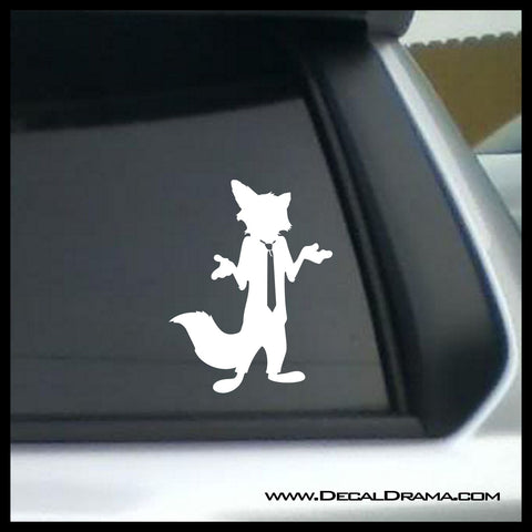 Nick Wilde silhouette, Zootopia-inspired Fan Art Vinyl Car/Laptop Decal