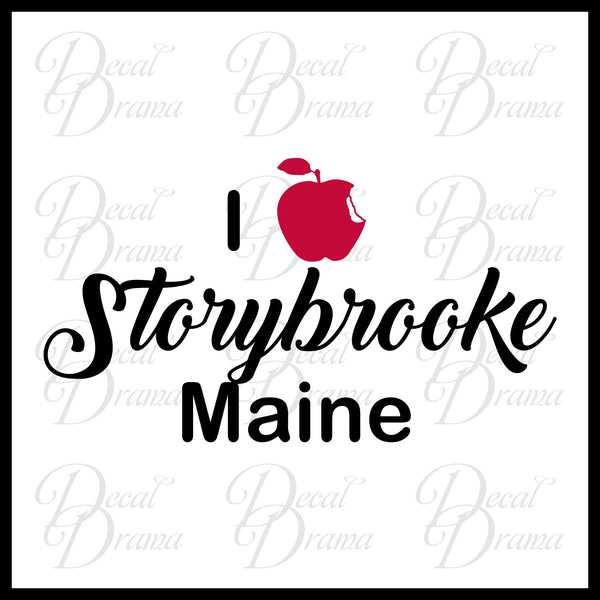 I Love Storybrooke Maine with bitten-apple heart, OUAT-inspired Vinyl Car/Laptop Decal