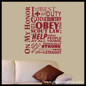 Boy Scout Oath On My Honor I will Do My Best To do My Duty To God and My Country, BSA Vinyl Wall Decal