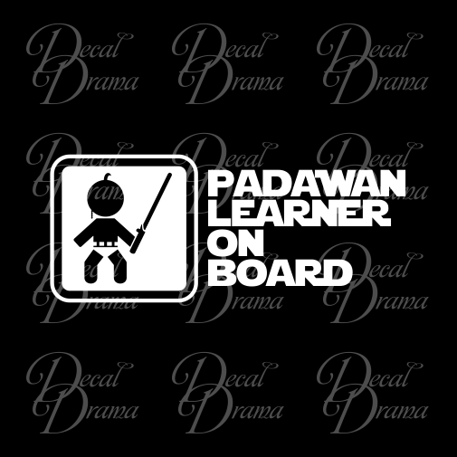 Padawan Learner on Board, Star Wars-Inspired Fan Art Vinyl Wall Decal