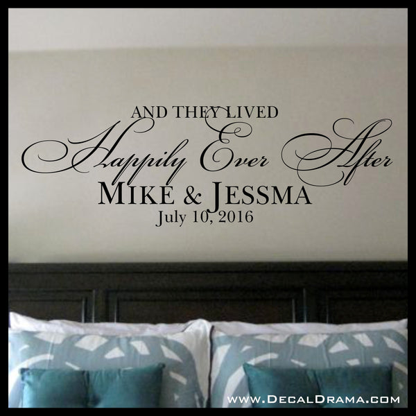 Personalized And They Lived Happily Ever After Vinyl Wall Decal