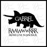 Personalized RAWR Means LOVE in Dinosaur Vinyl Wall Decal