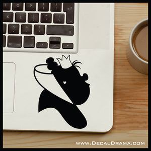 Queen of Hearts silhouette, Alice in Wonderland Villain Vinyl Car/Laptop Decal