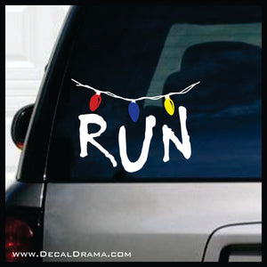 RUN with Strand of Lights, Stranger Things Fan Art Vinyl Decal