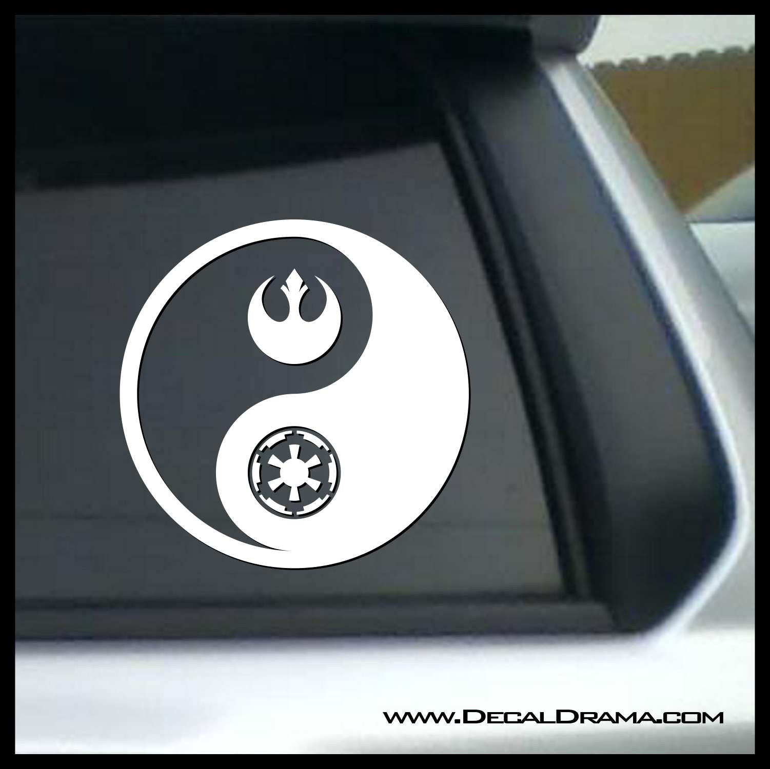 Rebel Alliance Galactic Empire Yin Yang, Star Wars-Inspired Fan Art Vinyl Wall Decal