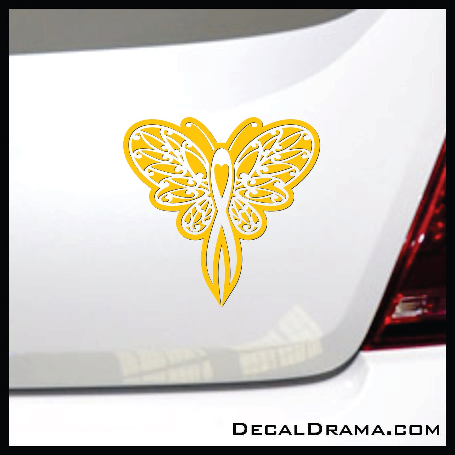 Awareness Ribbon Butterfly Lace Vinyl Car/Laptop Decal