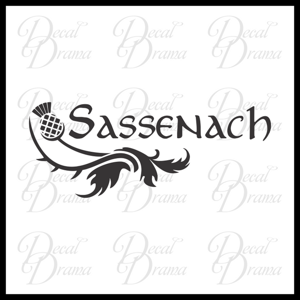 Sassenach with Scottish Thistle, Outlander-inspired Vinyl Car/Laptop Decal