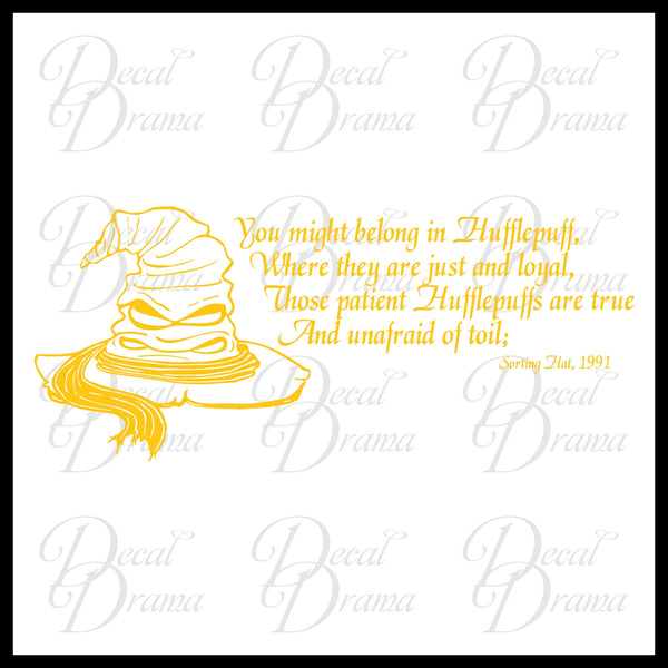 Hufflepuff, Sorting Hat Song, Harry-Potter-Inspired Fan Art Vinyl Wall Decal