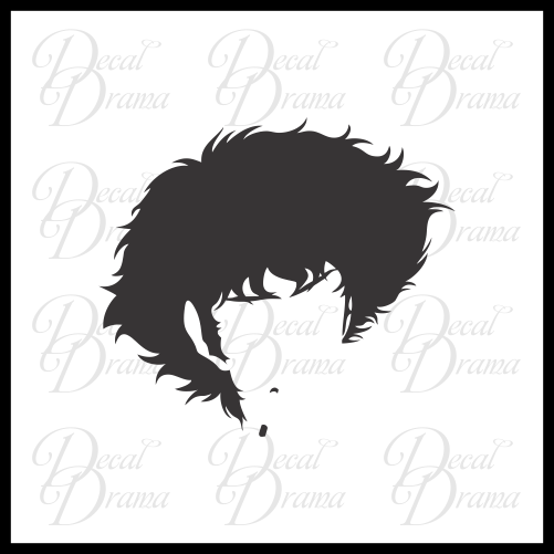 Spike Spiegel head silhouette, Cowboy Bebop-inspired Vinyl Car/Laptop Decal
