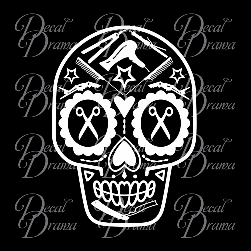 Hair Stylist Sugar Skull, Beauty Salon Vinyl Decal