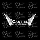 Castiel is My Co-Pilot sticker, TVs Supernatural-inspired Fan Art, Vinyl Car/Laptop Decal