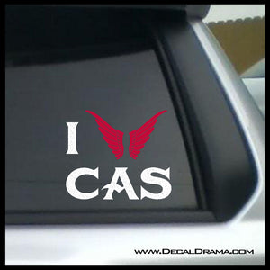 I Love CAS with wings heart, TVs Supernatural-inspired Fan Art, Vinyl Car/Laptop Decal