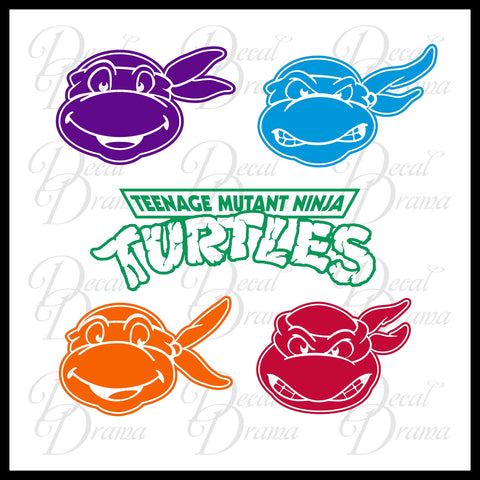 Teenage Mutant Ninja Turtles LARGE-SET Multi-color Car/Laptop Decals
