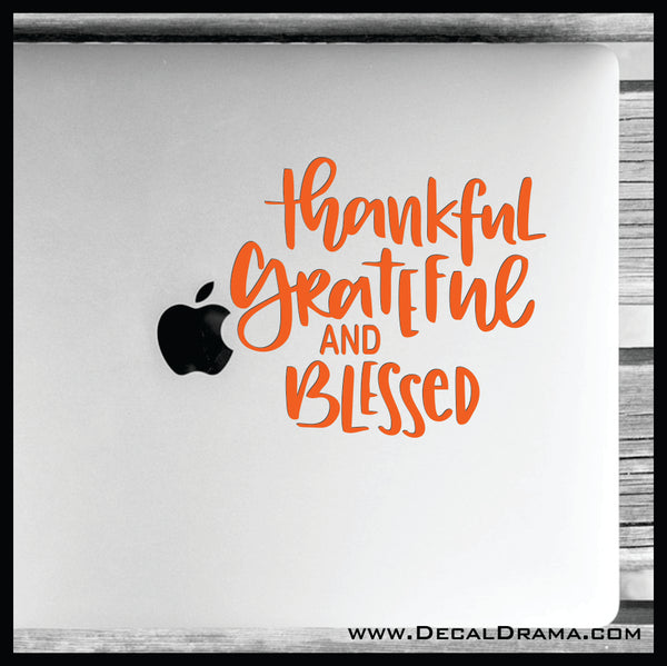 Thankful Grateful and Blessed Mirror Motivator Vinyl Decal