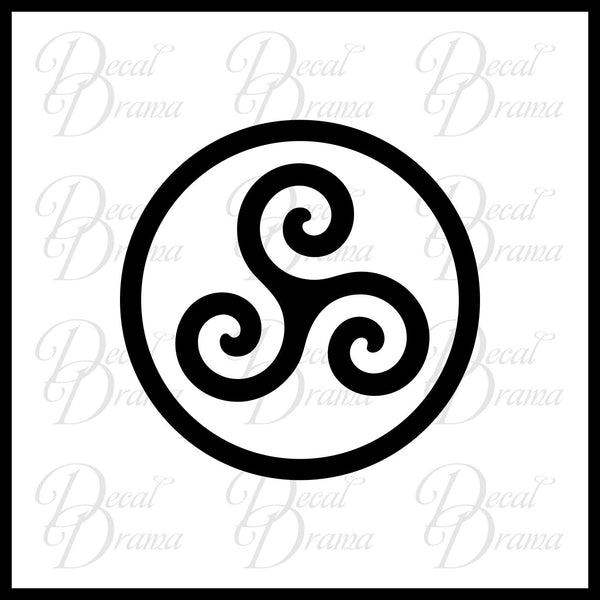 Druid Triskele symbol, Merlin-inspired Vinyl Car/Laptop Decal