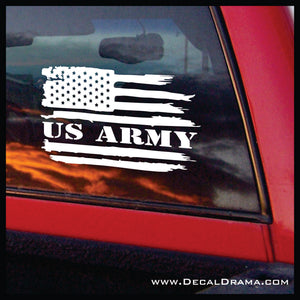 US ARMY, Weathered United States Flag Vinyl Car/Laptop Decal
