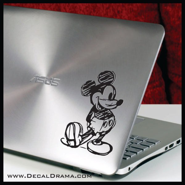 Vintage Mickey Mouse Sketch, Walt Disney-inspired Art Vinyl Car/Laptop Decal