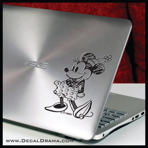 Vintage Minnie Mouse Sketch, Walt Disney-inspired Art Vinyl Car/Laptop Decal