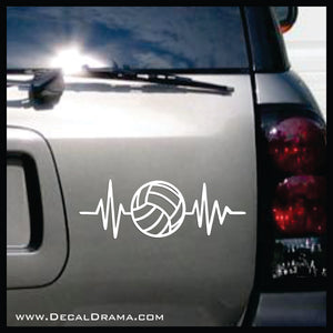 Volleyball Heartbeat Vinyl Car/Laptop Decal