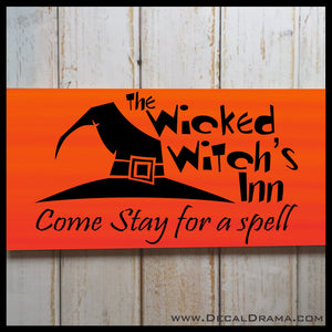 The Wicked Witch's Inn, Come Stay for a Spell Halloween Vinyl Wall Decal