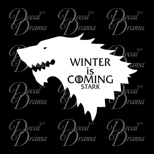 Winter is Coming Stark Direwolf Wolf GoT Game of Thrones-inspired Vinyl Car/Laptop Decal
