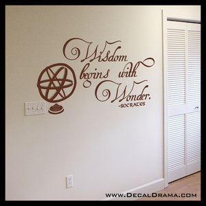 Wisdom Begins with Wonder, Socrates Vinyl Wall Decal