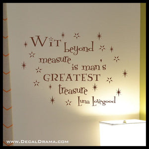 WIT Beyond Measure Is Mans Greatest TREASURE, Harry-Potter-Inspired Fan Art Vinyl Wall Decal