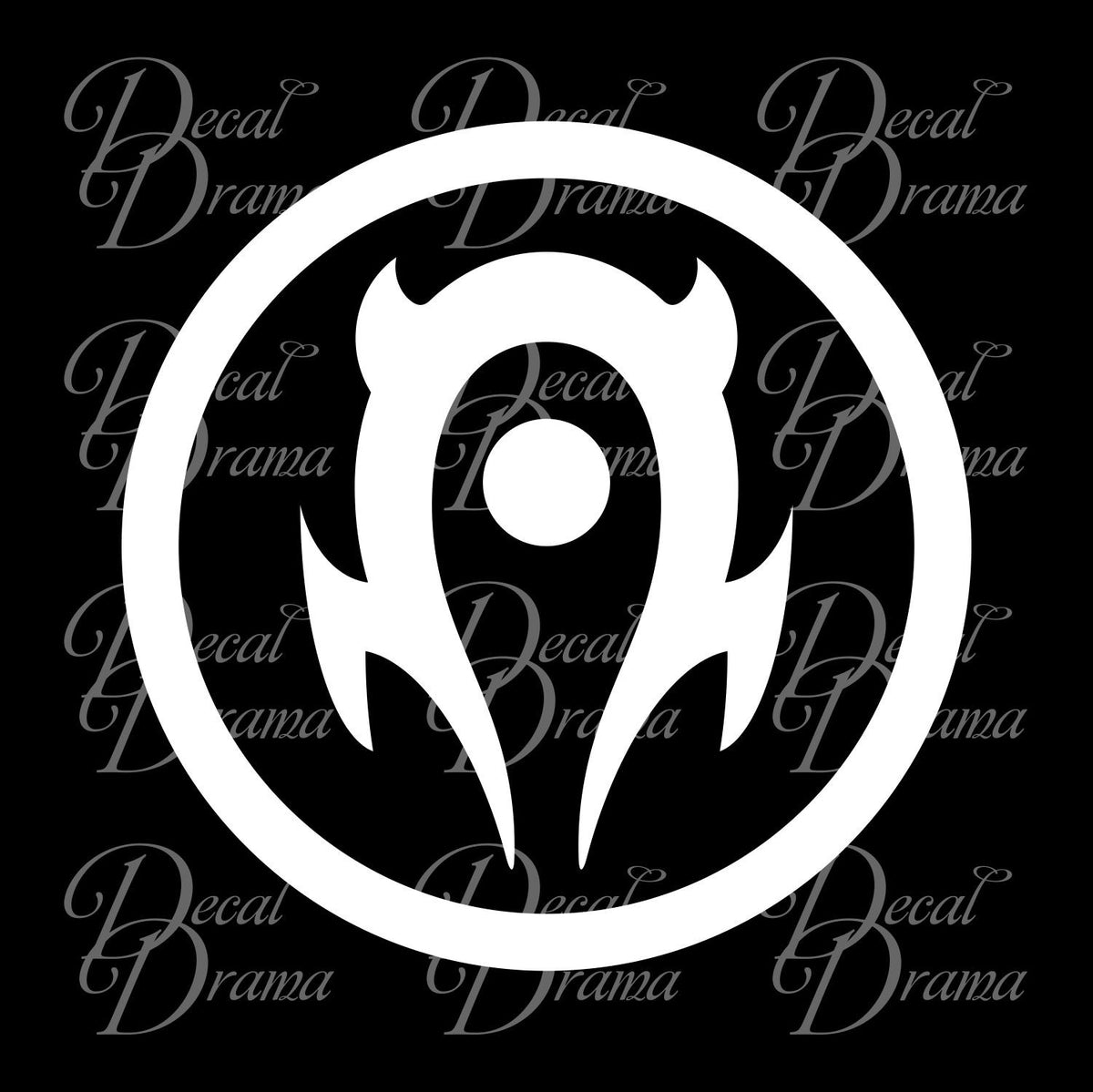 Horde Symbol Wow World Of Warcraft Inspired Car Laptop Decal Decal Drama The horde symbol is just the first half, but opened to show that all are welcome and there is no other. the smaller bit under the symbol is supposed to be the simplified version of the big symbol, similar. decal drama