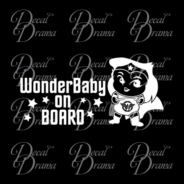 WonderBaby on BOARD with Baby Wonder Woman Fan Art Vinyl Car/Laptop Decal