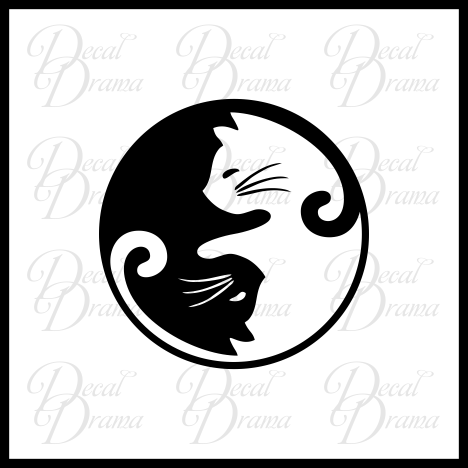 Yin Yang Cats Vinyl Car/Laptop Decal